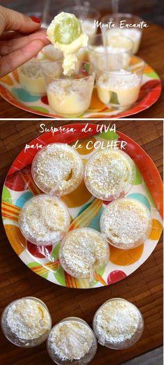 Surpresa de uva, brigadeiro mole de coco com uma uva dentro. A uva equilibra o doce e traz uma refrescância deliciosa! Surpreende mesmo!