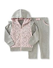 Two-Piece Lace Trim Hoodie and Pants Set