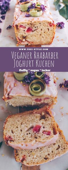 Rhubarb Vegan Recipes, Rhubarb Desserts, Vegan Yogurt Cake Recipe, Healthy Cake, Healthy Desserts, Vegan White Chocolate, Vegan Sugar, Vegan Sweets, Cake