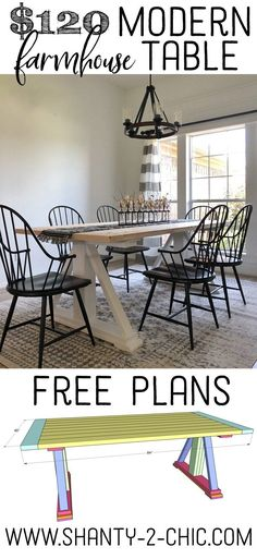 DIY Modern Farmhouse Dining Table - The Leasha Table - Shanty 2 Chic - Free plans and DIY video tutorial showing you how to build this super cute and cheap dining table! Modern Farmhouse Table, Farmhouse Furniture, Rustic Farmhouse, Tuscan Furniture, Timber Furniture, Cottage Furniture, Farmhouse Windows, Italian Furniture, Country Furniture