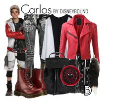 Carlos by leslieakay on Polyvore featuring Doublju, Balmain, Dr. Martens, DESA 1972, Glam Rock, disney, disneybound and disneycharacter