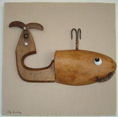 Assemblage Kunst, Wood Sculpture, Metal Sculptures, Whale Art, Found Object Art, Junk Art, Wood Tools, Find Objects, Robot Art