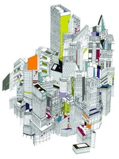 sadly won't inspire the animated debate of timmy boy's post, but have a look at nigel peake's work - beautiful! Urban Landscape, Landscape Art, Graphic Design Pattern, T Art, Architecture Drawings, Arte Popular, Architectural Features, Illustration Sketches, Construction