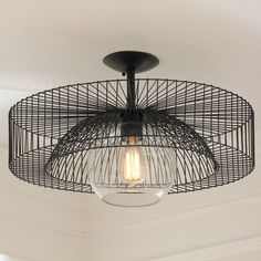 Shades of Light Wire Wheel Semi-Flush Ceiling Light