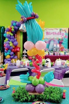 Check out this cute Trolls birthday party! The centrepiece is so much fun! See more party ideas and share yours at CatchMyParty.com #catchmyparty #partyideas #trolls #trollsparty #girlbirthdayparty #centerpiece #partydecorations Chanel Birthday Party, Zombie Birthday Parties, Boys 1st Birthday Party Ideas, Trolls Birthday Party, Birthday Drinks, Troll Party, Birthday Party Decorations, Cinderella Birthday, Disney Birthday