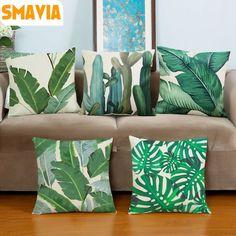 Venda quente África Tropical Planta Impresso Capa de Almofada Verde Folhas Fronhas De Linho Macio Cadeira/Carro/Sofá Travesseiro capa Home Decor