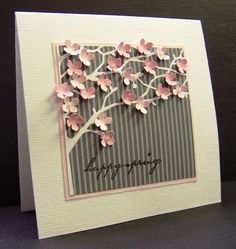 Stamps: Memory Box - sentiment   Paper: Bazzill Avalanche, SU Pretty in Pink, Pink Pirouette, DSP Basic Gray stripe DP   Ink: Memento Tuxedo Black   Accessories: Memory Box Orchard Tree Frame die, MS hydrangea punch, 1/2 pearls