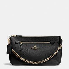 COACH Nolita Wristlet 24 in Polished Pebble Leather Handbags - Bloomingdale's Coach Clutch, Coach Wristlet, Women's Wristlets, Polished Pebble, Coach Handbags, Coach Bags, Luxury Bags, Leather Fashion, Pebbled Leather