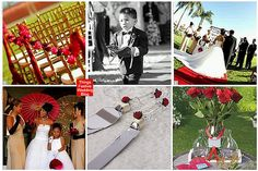 A Red Rose ceremony provided the inspiration for this beach wedding theme.