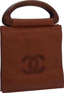 Chanel Tobacco Brown Leather Whipstitch Tote with Wooden Handles....
