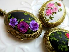 Hurry up for new beautiful handmade polymer clay lockets. They are in my etsy shop (link is in bio). Every petal is unique and one of a kind, made by hands. Polymer Clay Embroidery, Embroidery Art, Blooming Trees, Jewelry Show, Jewelry Making, Clay Design, Hand Shapes, Hand Art, Clay Flowers