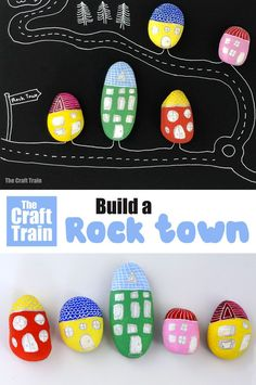 Rock art houses : Adorable rock houses – a fun rock painting idea from The Rock Painting Handbook. This is a fun DIY toy for imaginary play and would make a cute hand made gift, or even a collaborative art project for a group of kids (of any age! Creative Activities For Kids, Creative Play, Easy Crafts For Kids, Toddler Crafts, Creative Crafts, Art For Kids, Nature Activities, Kid Crafts, Rock Crafts