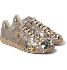 Maison Martin MargielaPaint Splash Leather Sneakers