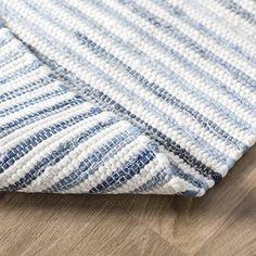 Mack & Milo™ Striped Handmande Braided Cotton Bright Blue/Navy Rug & Reviews   Wayfair Grey Boys Rooms, Blue Outdoor Rug, Blue And White Rug, Navy Bedding, Rug Loom, Navy Rug, Striped Rug, Area Rugs, Bright