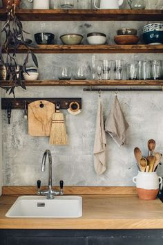 hand-built kitchen in east sussex. open wood kitchen shelving with white-washed concrete backsplash. / sfgirlbybayopen wood kitchen shelving with white-washed concrete backsplash. Home Decor Kitchen, Diy Kitchen, Kitchen Interior, Home Kitchens, Diy Home Decor, Kitchen Rustic, Kitchen Ideas, Kitchen Decorations, Country Kitchen