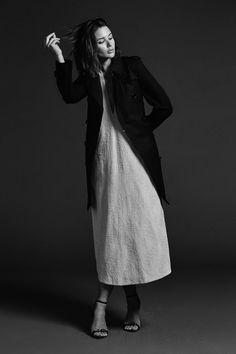 black trench coat, white dress & strappy sandals #style #fashion #HarperandHarley