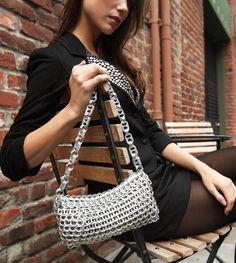 "Lenilda Pop Top Chain Bag-$110. over 400 tabs, zip closure 9""l, 4""H, 1""D--strap drop = 11"" metallic silver thread"