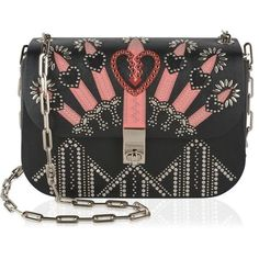Valentino Love Blade Embroidered Chain Bag (156.340 RUB) ❤ liked on Polyvore featuring bags, handbags, black, studded leather purse, chain purse, valentino purses, chain strap purse and studded purse