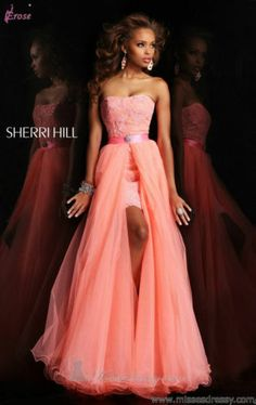 2013 Pink Detachable Skirt Long Formal Evening Bridesmaid Prom Party Dress Gown