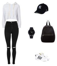 """""""Black & White Casual"""" by efek-denisa on Polyvore featuring Topshop, Monrow, adidas Originals and Madden Girl"""