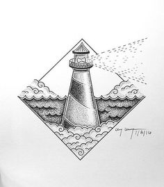 Best 25 Dotted drawings ideas in cute lighthouse drawing collection - ClipartXtras Cute Little Drawings, Cool Drawings, Ocean Drawing, Dotted Drawings, Stippling Art, Lighthouse Art, Tatoo Art, Ink Illustrations, Pen Art