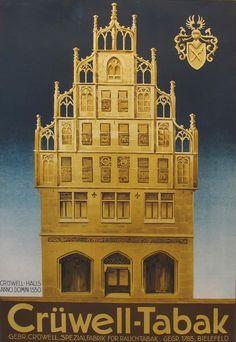 1920s Original German Art Deco Poster, Cruwell Tabak