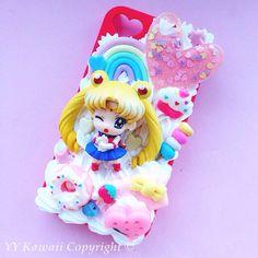 Custom Sailor Moon Kawaii Decoden Phone Case for by YYKawaii