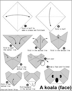 Easy Origami For Kids.: Koala, dog, cat, tadpole, panda, bear, tiger, penguin, house, and owl! Print out the picture tutorial and send along with some origami paper to your sponsored child.