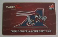 Tim Hortons 2011 Montreal Alouettes Logo Tim Card! This card was released in French Version only!  The Montreal Allouettes were the 2010 Grey Cup CFL Champions! (Champions de la Coupe Grey 2010!)