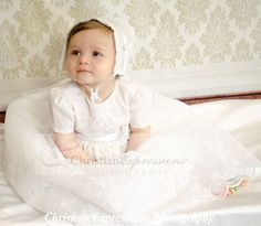 This sweet christening gown for girls has pretty embroidery over organza. Fully lined. Available at Christian Expressions of Rhode Island. Quality made in the USA Christening Gowns For Girls, Girls Baptism Dress, Boy Christening Outfit, Baptism Outfit, Boy Baptism, Baby Girl Dresses, Baby Dress, Flower Girl Dresses, Baby Girls