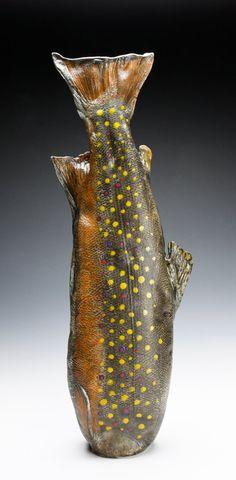 Large Porcelain Brook Trout Vessel Nature as by MarkChuck Ceramic Fish, Ceramic Teapots, Ceramic Pottery, Red Fish Blue Fish, Ap Studio Art, Creta, Little Fish, Sea Theme, Sculpture Clay