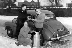 A meals on wheels winter delivery in Chester, picture taken in the 1950's.
