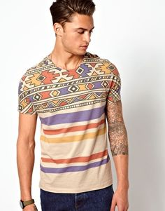 Image 1 of ASOS Stripe T-Shirt with Aztec Pattern