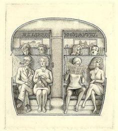 erotisches Exlibris Mark Severin N. Shaftel Highly Erotic Train Commute #293 c2 in Antiquitäten & Kunst, Antiquarische Bücher, Bibliophilie & Buchkunst, Exlibris | eBay