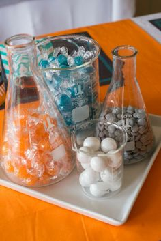 VBS Idea-Mad Scientist-science party - fill with candies, etc. Mad Science Party, Science Wedding, Mad Scientist Party, Colegio Ideas, Grad Parties, Childrens Party, In Kindergarten, Birthday Party Themes, Party Planning