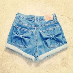 high wasted jean bow shorts; @Angie Wimberly Wimberly Pitman