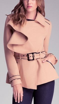 Ruffled peacoat by bebe