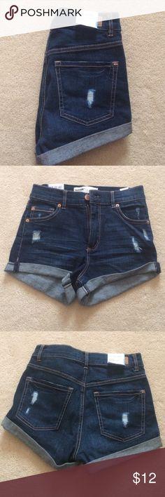 garage retro high waist dark wash jeans never worn. w/ tags. dark wash slightly distressed jean shorts Garage Shorts Jean Shorts