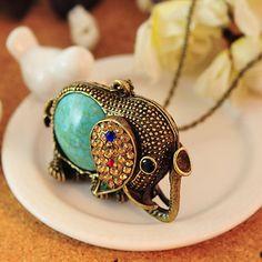 1 pcs free shipping Fashion jewelry accessories bohemia long design vintage gem rhinestone elephant necklace pendant D0125