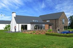 Contemporary house in Cavan, influenced by traditional rural architecture. The house is broken into a series of individual blocks representing the traditional cottage and associated outbuildings. The building is clad in natural stone and render. Modern Bungalow House, Bungalow Exterior, Bungalow Renovation, Rural House, Bungalow Designs, Dormer Bungalow, Bungalow Ideas, Farm House, House Outside Design