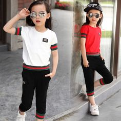 Kids Girl clothes set 2017 summer Baby Sportswear two piece set tracksuit for girls Clothing sets 5 7 8 9 10 11 12 years old