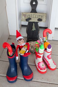 "elf in rain boots with treats for having a really ""Nice List"" week :)"