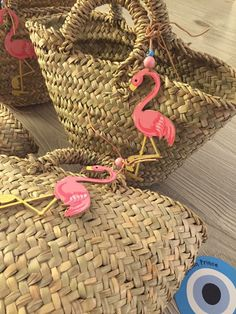 flamingo straw bags