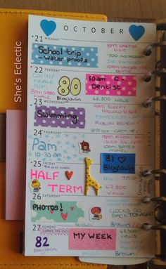 She's Eclectic: My week in my Filofax #43 - close up
