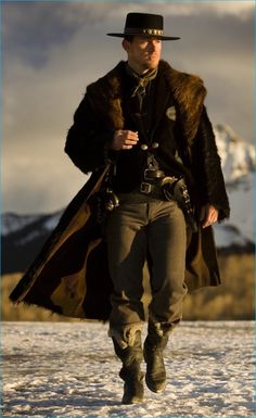 "Happy Channing Tatum here on the set of Quentin Tarantino's ""The Hateful Eight"", photo by Andrew Cooper The Hateful Eight, Hot Cowboys, Real Cowboys, Channing Tatum, Cowboy Outfits, Cowboy Outfit For Men, Cowboy Costumes, Mens Fur, The Lone Ranger"