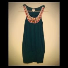 Final Sale! Cute Beaded Collar Dress!! Forest Green mini dress with multi-colored beaded collar/halter. Able to wear with leggings or by itself!! Dresses Mini