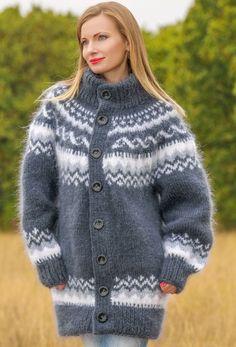 Hand knitted mohair sweater cardigan Icelandic handmade coat grey Nordic jacket #SuperTanya #Cardigan