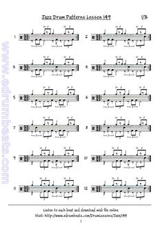 Jazz Drum Lesson 148 contains 32 drum beats. This lesson has 32 free midi drum loops and 128 audio samples. Jazz Sheet Music, Sheet Music Book, Drum Lessons, Guitar Lessons, Drum Rudiments, Learn Drums, Drums Sheet, Drum Patterns, Drums Beats