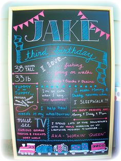 Jake's 3rd Birthday Party!!!  Chalkboard.