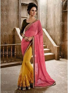 Awesome Pink Chiffon With Mustard Designer Party Ware Saree. Buy Fancy Designer Saree In Canada. http://www.angelnx.com/